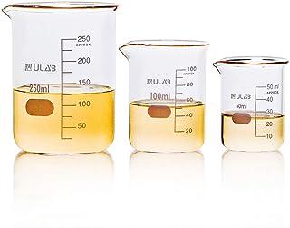 بشقاب علمی شیشه ای ULAB ، 3 اندازه 50ml 100ml 250ml ، 3.3 فرم کم Boro Griffin با فارغ التحصیلی چاپی ، UBG1001