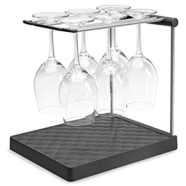 KOHLER Collapsible Wine Glass Holder or Drying Rack.  Collapsible to 1.25 , Holds Up To 6 glasses, Charcoal