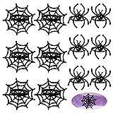 FEPITO 12 piezas de servilleteros de Halloween, servilletero de araña negro Servilletero de tela de araña para decoraciones de mesa de fiesta de Halloween, fiestas temáticas de fantasmas