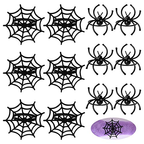 FEPITO 12 Pcs Halloween Napkin Rings, Black Spider Napkin Holder Spider Web Napkin Holder for Halloween Party Table Decorations, Ghost Themed Parties