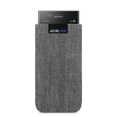 Adore June Business Tasche passend für Sony Xperia XZ1 Compact Handytasche aus charakteristischem Fischgrat Stoff - Grau/Schwarz | Schutztasche Zubehör mit Bildschirm Reinigungs-Effekt | Made in Europe