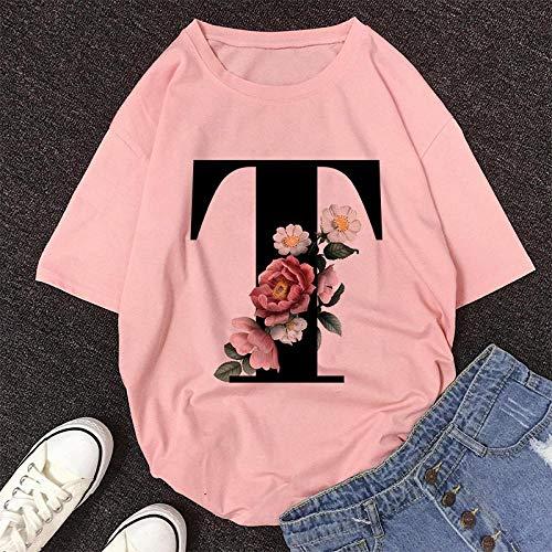 T-Shirt Femme Alphabet Anglais Imprimer Tshirt Vogue Casual Rose Tops T-Shirt Femmes Été Couples Amoureux Femme T-Shirt S 10643-Rose