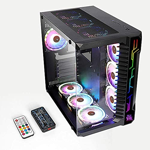 SZsking Gaming pc Case ATX Computer Game Case mid Tower 3.0 USB Tempered Glass Panel with 10PCS RGB Fans Control Remote
