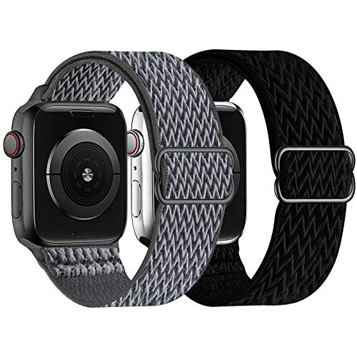 UHKZ 2 Pack Stretchy Solo Loop Compatible with Apple Watch Bands 38mm 40mm 42mm 44mm,Adjustable Braided Sport Elastic Nylon Wristband for iWatch Series 6/SE/5/4/3/2/1,Storm Gray/Black,42/44mm