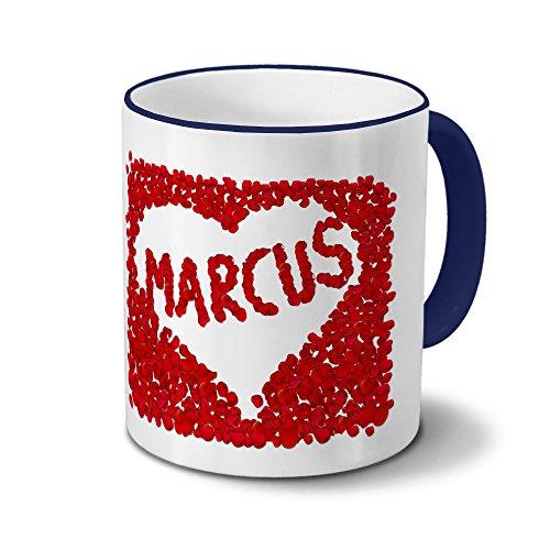 Tasse mit Namen Marcus - Motiv Blumenherz - Namenstasse, Kaffeebecher, Mug, Becher, Kaffeetasse - Farbe Blau