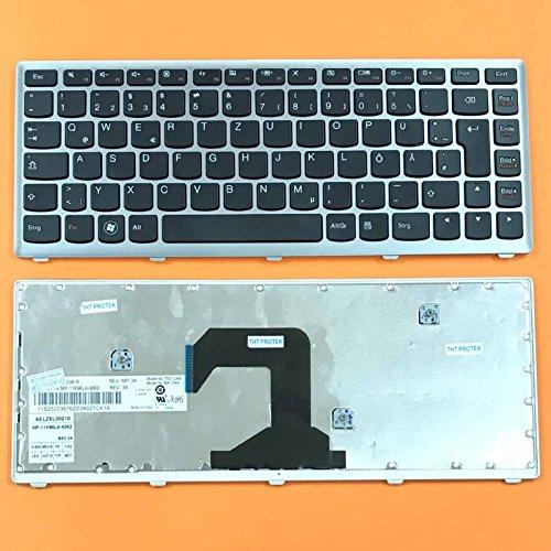 kompatibel für Lenovo Ideapad U310, U410 Tastatur - Farbe: schwarz, mit Silber Rahmen - Deutsches Tastaturlayout - Version 2