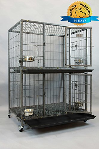 """Homey Pet New 37"""" Two Tier Pet Dog Cat Cage with Feeding Door and Bowls"""