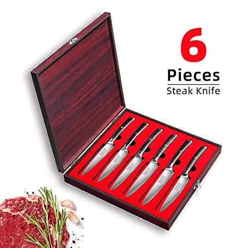 Sunnecko Steakmesser Set - 13cm Multifunktional Damastmesser 6 Teiliges - Japanischer VG-10 Cored & 73-Schichten Damaststahl Klinge & G10 Griff für Haushaltsküchen - Elite Series.