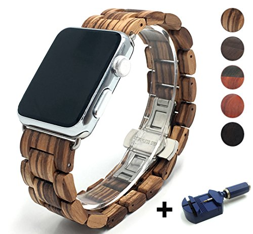 Seoaura Compatible for Apple Watch Band 38mm 40mm, Natural Handmade Wooden Replacement iWatch Series 5 4 3 2 1 Sports Strap Wristband - Link Remover as a Gift (Zebrawood, 42mm/44mm)