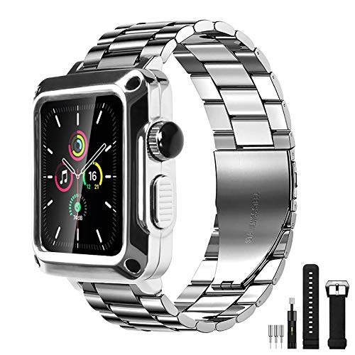 Metal Case for Apple Watch 42mm Bumper Case with Stainless Steel Band Built-in Tempered Glass for iWatch Series 3 2 1 42mm Full Protective Cover with Straps Screen Protector (42mm, Silver(metal band))