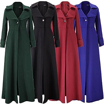 Beles Womens Winter Coat Long Single Breasted Pea Coat Overcoat