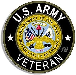 American Vinyl Round U.S. Army Veteran Sticker (Bumper Soldier gi us United States Vet)