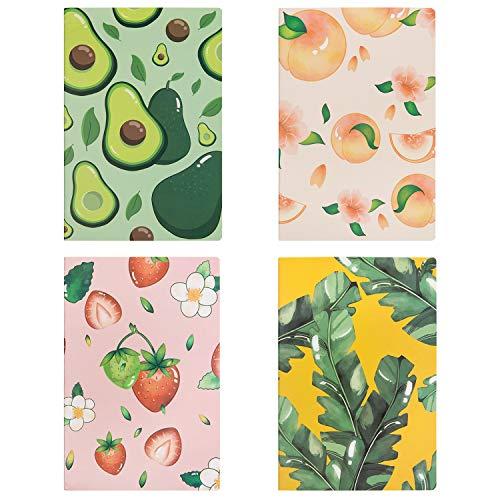 Czemo Pack de 4 Cuaderno A5 Libretas Bonitos Bloc de Notas Cuaderno de Notas Tapa Blanda Cubierta de Kraft Diario de Viaje Pequeña Diarios (Fruta)