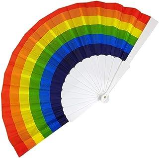 Faltbarer Handfächer Regenbogen Hand Fan Holz Geschnitzten Bambus Handheld Faltfächer Papierfächer für Wanddekoration Hochzeit Party Geschenk Accessories B