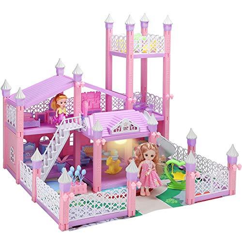KAINSY Puppenhaus, 3 Tier Holiday House Möbeln und Zubehör Puppenhaus and Puppenhaus Zubehör and Doll, 3D Großes Puppenhaus einschließen Wohnzimmer,Schlafzimmer,Küche,Bad