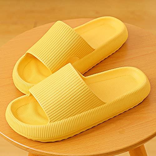 ZZLHHD Hombre Baño Sandalias,Home Interior Slippers, Thick Bottom Slippers-Yellow_36-37,Zapatillas Pantuflas Playa Hombre y Mujer,