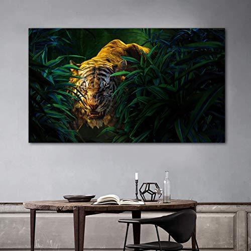 N/A Pittura su Tela Stampa Tiger Grass Bush Pictures Canvas Painting Poster da Parete per Soggiorno Modern Home Decor Stampe Animali Senza Cornice Casa Muro Decorazione Regalo