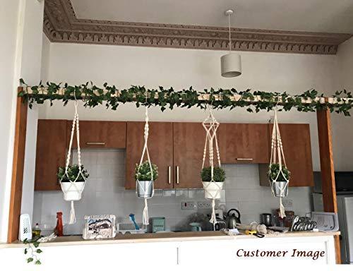 Luxbon 4er Set Makramee Blumenampel Baumwollseil Hängeampel Blumentopf Pflanzen Halter Aufhänger für Innen Außen Decken Balkone Wanddekoration – 41 Zoll, 4 Beine - 7