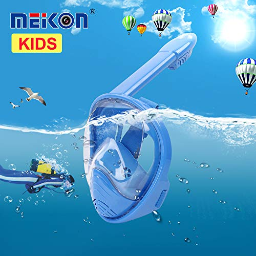 MEIKON [2019 Snorkel Mask Foldable 180 Panoramic View Free Breathing Full Face Snorkeling Mask with Dry Top Set Anti-Fog Anti-Leak for Adults & Kids (Blue, S-Kids)
