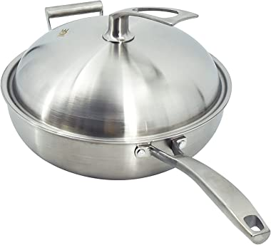 """Stainless Steel Wok with Lid Multi-Ply Clad Wok Pan 12.5"""" Stir Fry Frying Pan Healthy Non stick,Scratch Resistant"""