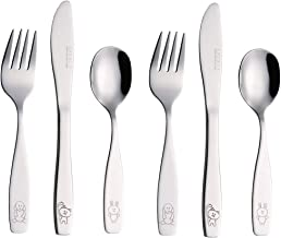 Exzact Children's Cutlery Stainless Steel 6pcs Set/Kids Cutlery/Toddler Utensils/Flatware - 2 x Forks, 2 x Safe Dinner Kni...