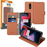 Orzly OnePlus6 Wallet Case Multi-Function Wallet Case for The OnePlus 6 (2018 Model Smartphone) - Brown TAN Protective Cover with Card Pockets & Integrated Display Stand