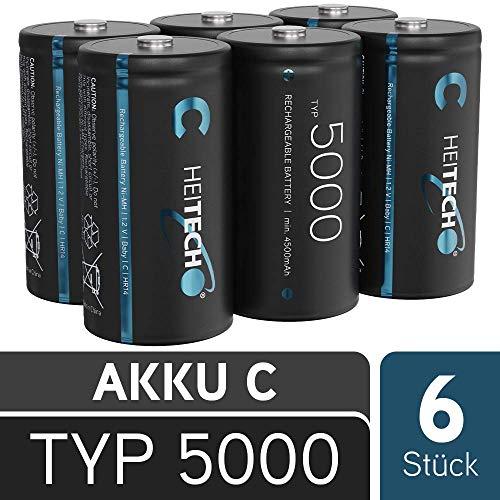 HEITECH Akku Baby C Typ 5000-6er Pack HR14 wiederaufladbare Batterien mit geringer Selbstentladung - NiMH Akkus mit min. 4500mAh & 1,2V - Akkubatterien Batterie Battery C Batteries Rechargeable