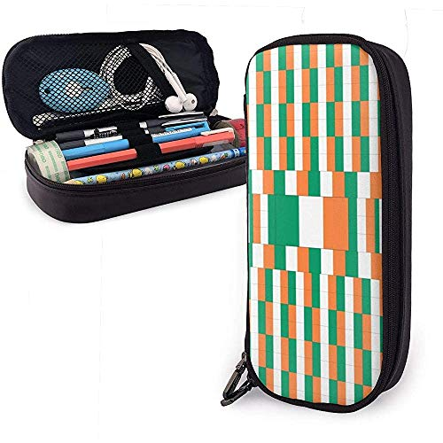 Ireland Flag Pen Case Big Capacity Pencil Bag Makeup Pouch Durable Students Stationery with Double Zipper