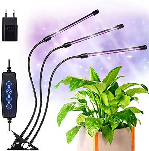 VOYOMO LED Pflanzenlampe Klemme mit 24H Automatische Zeitschaltuhr, 3 Timer, 3 Modus, Dimmbar 6 Lichtstärken Pflanzen Wachstumslampe für Garten Zimmerpflanzen Überwinterung (Neueste Version 2019)