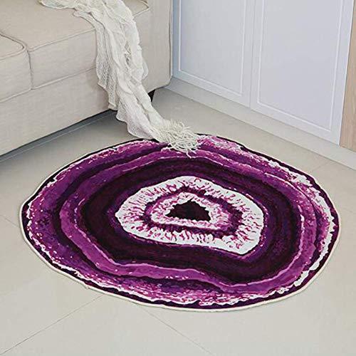 SXCarpet 3D Teppich Moderne Lila Whirlpool Muster Wohnzimmer rutschfeste Matte Runden Couchtisch Teppich Waschbar Wohnkultur,Lila,diameter180cm