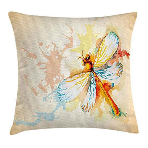 JIMSTRES Dragonfly Throw Pillow Cushion Cover, Watercolor Moth with Branch Print Wings on Abstract Backdrop, Decorative Square Accent Pillow Case, Light Yellow Peach and Orange 22x22 inches