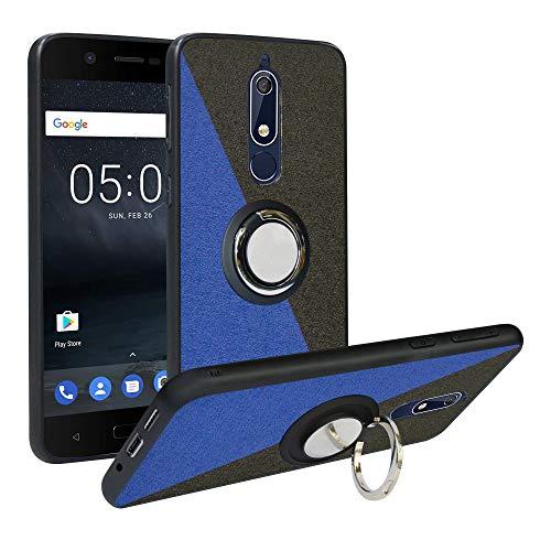 Alapmk Cover Nokia 5.1 2018, [Pattern Design] con 360 Magnetica per Auto, Custodia Protettiva TPU Protettiva Custodia Cover per Cover Nokia 5.1 2018,Blue/Black