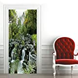 Papel Pintado Puerta 77 x 200 cm Papel Pintado Autoadhesivo y Calcomanía de extraíble para la Puerta Impermeable Diy Decoraciones-jardín