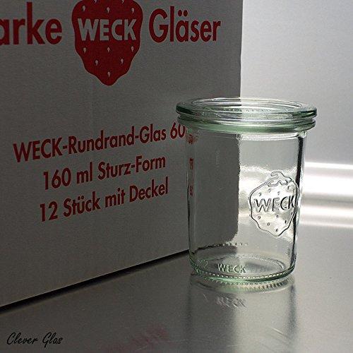 12 Weck 160ml Sturzgläser RR60 mit 12 Glasdeckel im Original Karton (Mit Glasdeckel)