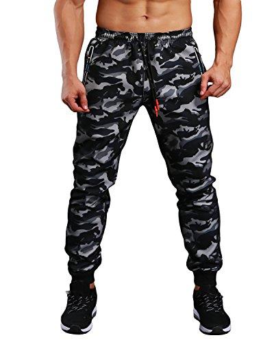 EKLENTSON Mens Military Joggers Zipper Pockets Slim Fit Camo Military Pants Camo Sweatpants Black