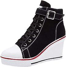 Baskets Compensées Tendance 8 cm - Femme Baskets Compensées Chaussure de Sport Marche Fitness Sneakers Basses Compensées