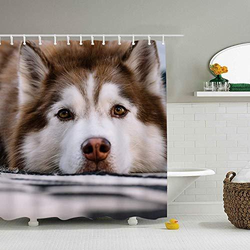 JOOCAR Design Duschvorhang Tier Husky H&e Sibirischer H& Wasserdicht Stoff Stoff Badezimmer Dekor Set mit Haken