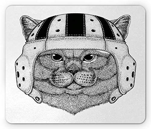 Rugby Stripe Mouse Pad, British Nobility Cat Wearing Rugby Themed Portrait Hipster Humor Print, Standard Size Rectangle Non-Slip Rubber Mousepad, Black Grey White