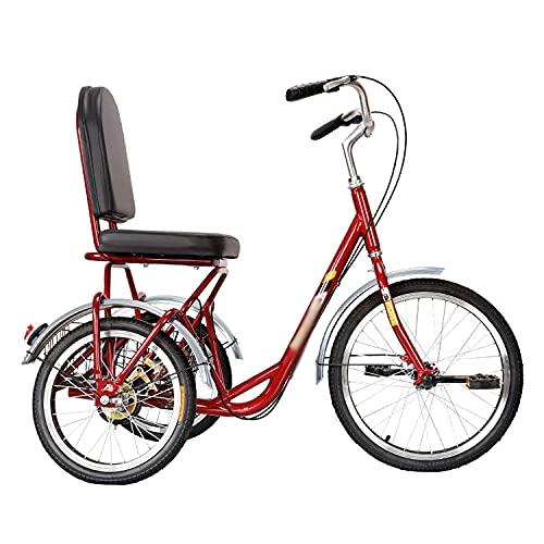 FGVDJ Adult Tricycle Comfort Bicycles Bike with Seat Backrest Basket Three Wheel Cruiser Bike for Seniors, Women, Men