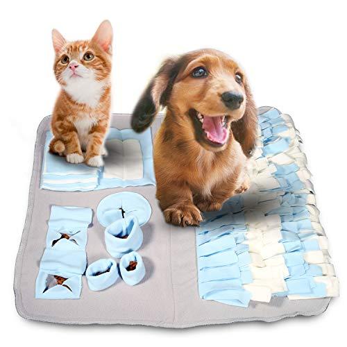 Yosemy Schnüffelteppich für Hunde Schnüffelrasen Nahrungssuche Schnüffelmatte für Hund langsam Essen Spielzeug Riechen-Trainierung Schnüffelteppich 60cmX60cm Blau