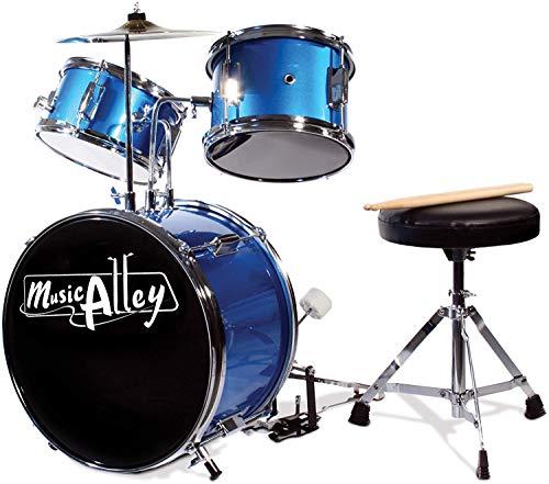 Music Alley Dreiteiliges Kindertrommelset mit Becken, Bass Drum & Pedal, Drum Hocker und Drum Sticks