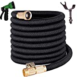 TruTec Expandable Garden Hose | Heavy Duty Nylon Cover | Triple Layer Latex Core | Flexible Expanding Hose | ¾ Brass Shut Off Valve | 8-Way Nozzle | Pat. Stainless Steel Holder (50, Black)