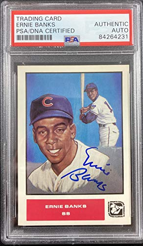 Ernie Banks auto signed card Sports Design Chicago Cubs PSA Encapsulated