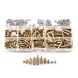 Kit surtido de tuercas de tornillo de columna hexagonal de latón de 150 piezas, kit de surtido de tuercas de tornillo separador de espaciador macho-hembra/hembra-hembra M2 M3 (Set C)