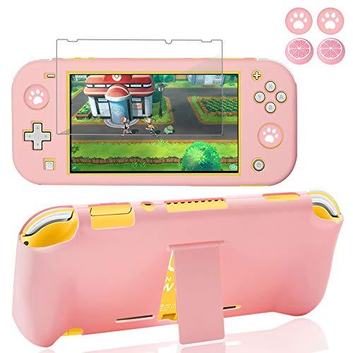 Funda Switch Lite, funda protectora BRHE para Nintendo Switch Lite con protector de pantalla de cristal y tapas para pulgar y carcasa rígida antiarañazos, absorción de golpes (rosa)