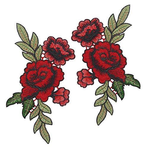 Toruiwa Patches Bestickte Aufnäher Flicken Rose Blume mit Blättern Stickerei Patch Applique Badge für Kleid Hut Schuhe Jeans DIY Kostüm 19 * 11cm Rot