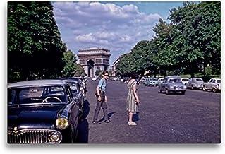 CALVENDO Premium Lienzo 75 cm x 50 cm Horizontal, Avenue Forch, ARC de Triomphe, París - 1963 Imagen sobre Bastidor, Listo en Lienzo auténtico, impresión en Lienzo Orte Lugares.