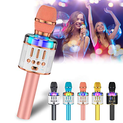 Verkstar Karaoke Microphone for Kids & Adult, Handheld Wireless Bluetooth Karaoke Mic Speaker Music Player Recorder with LED Lights for Birthday Party, Wedding, Christmas