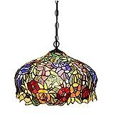 FUMAT Tiffany Pendant Light Rose Flower Stained Glass Hanglamp 16' E26 LED Chandelier Hanging Lights Fixture 110V Ceiling Pendant Lamp