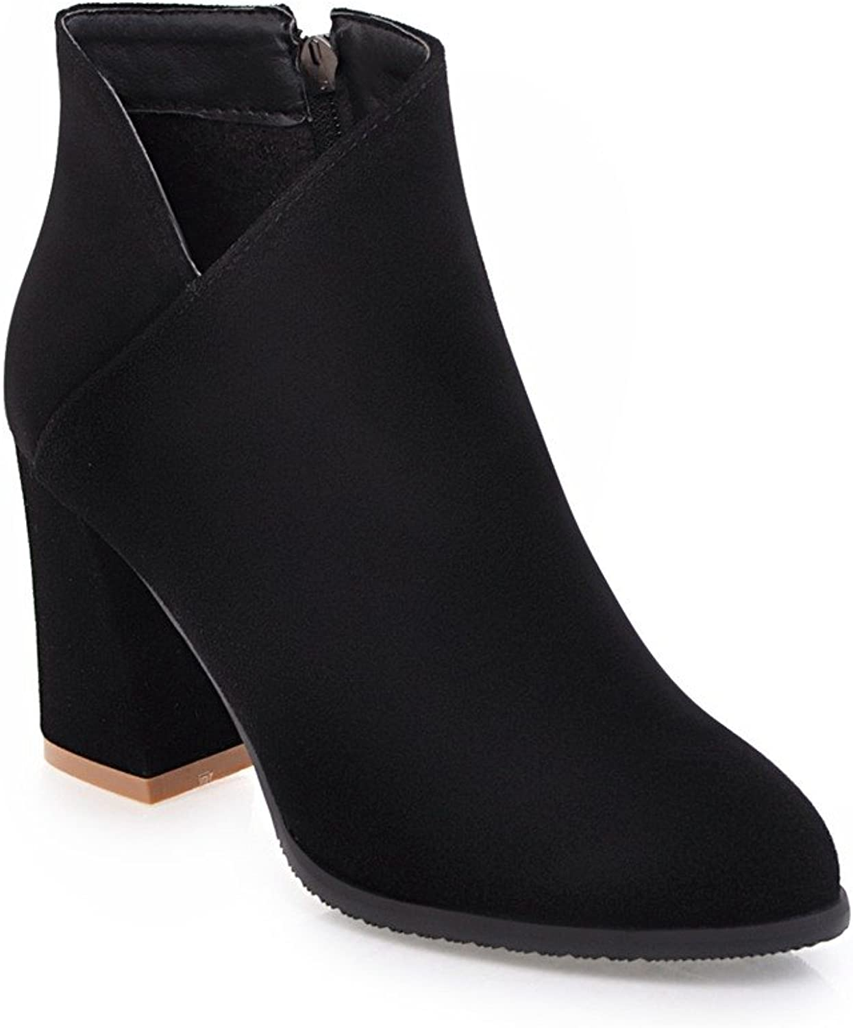 BalaMasa Womens High-Heels Zipper Closed-Toe Solid Pointed-Toe Black Suede Boots ABL09651 - 7.5 B(M) US